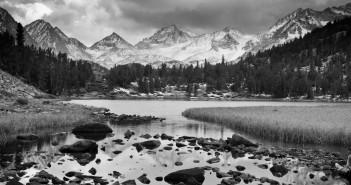 Dramatic Mountain Landscape, Black and White Image