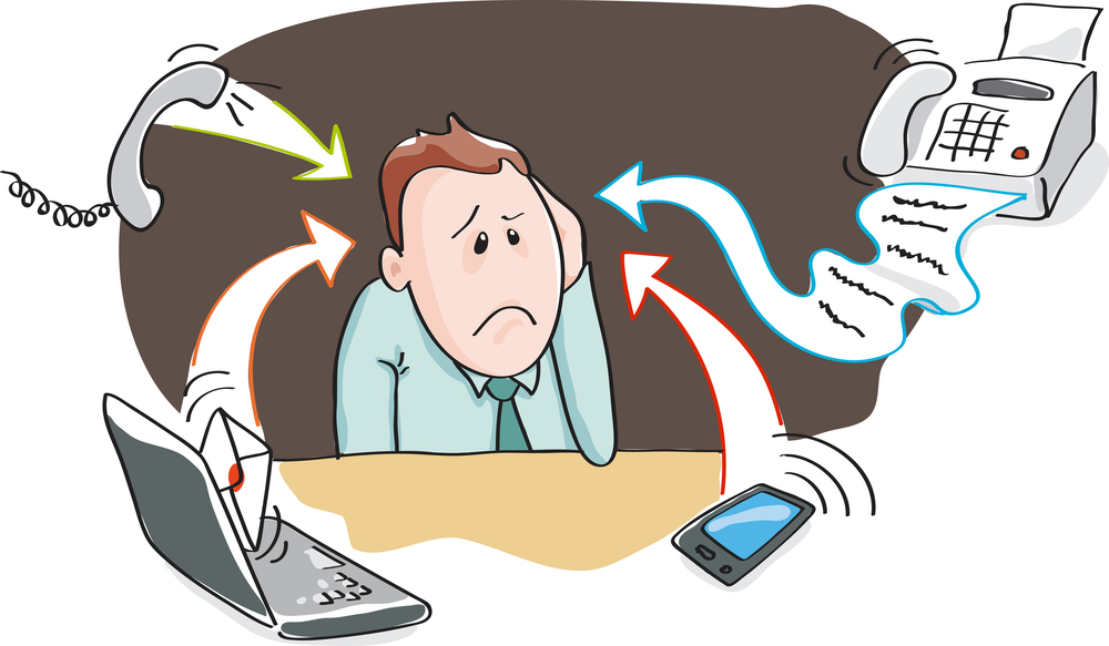 Office worker, businessman - burnout by information overload by
