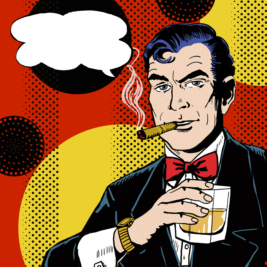 Vintage Pop Art Man with glass smoking cigar and with speech b