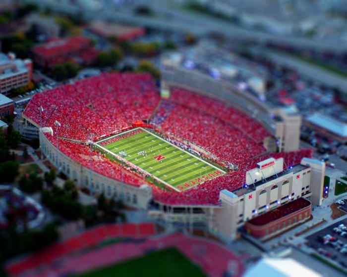 Tilt-shift photo of an American football stadium