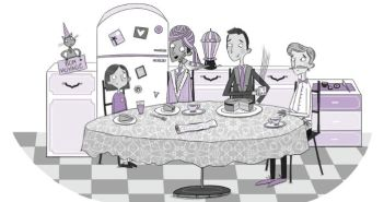 Illustration of family eating dinner by Becka Moor