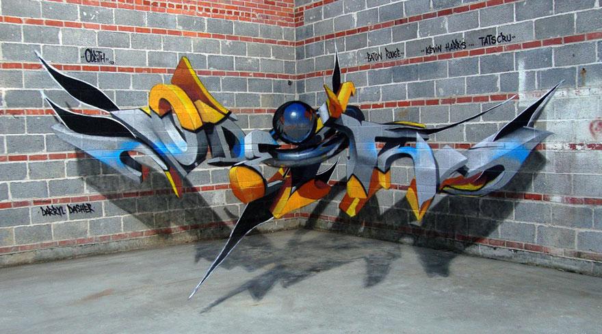 Odeith Amazing 3D Graffiti Against Brickwork via The Studio
