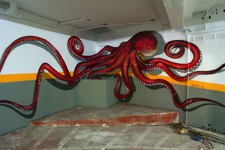 Sea Creature 3D Graffiti by Artist Odeith via The Studio