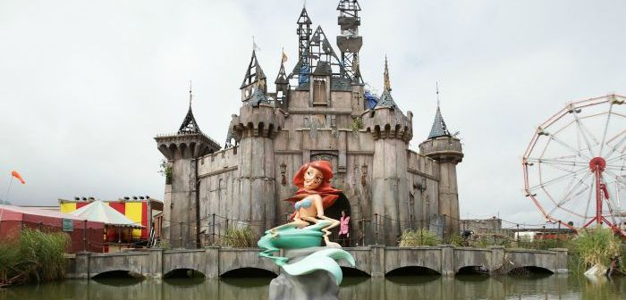 Castle and Little Mermaid at Banksy's Dismaland