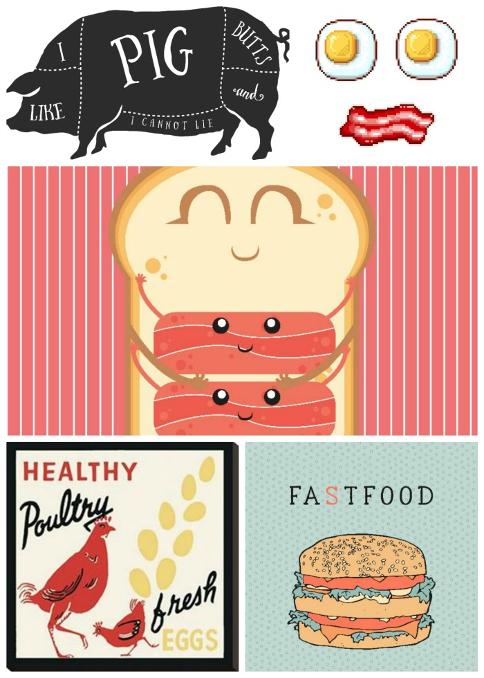 Collage of Food Art with Bacon as theme of the month