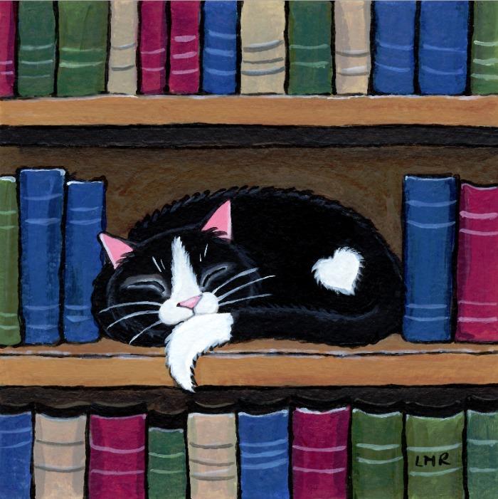 Book Love Tuxedo Cat by lisamarierobinson