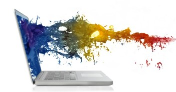 Image of paint coming of a laptop