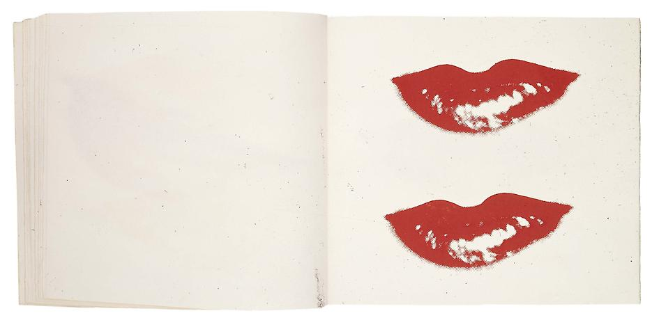 Andy Warhol sketchbook drawing of lips.